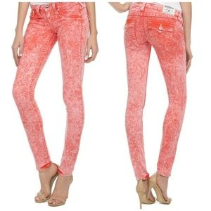 True Religion Skinny Disco Red Acid Jeans